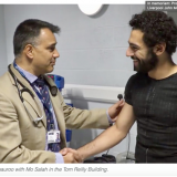 Professor John Somauroo with Mo Salah in the Tom Reilly Building