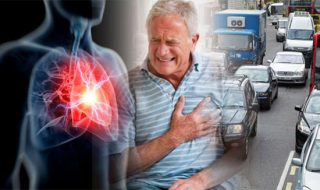 air polution and man with heart health issues
