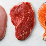 meat protein - chicken, beef and salmon